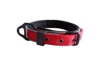 Dog & Co Reflective Nylon Padded Dog Collar (Red) (38mm x 60-75cm)