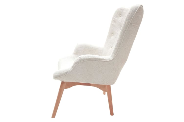 Replica Grant Featherston Contour Lounge Chair & Ottoman   Ivory Fabric   Natural Legs