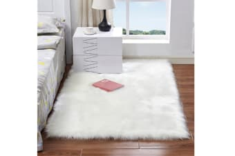 Super Soft Faux Sheepskin Fur Area Rugs Bedroom Floor Carpet White 50X50CM