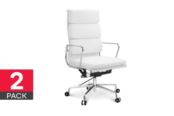 2 Pack Ergolux Executive Eames Replica High Back Padded Office Chair (White)