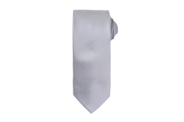 Premier Mens Micro Waffle Formal Work Tie (Pack of 2) (Silver) (One Size)