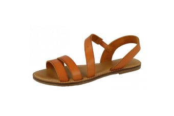 Leather Collection Womens/Ladies Strap Slingback Mule Sandals (Tan Coral)