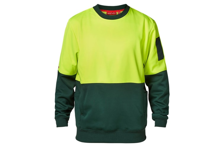 Hard Yakka Men's Hi-Vis Two Tone Brushed Fleece Crew Neck Jumper (Yellow/Green, Size 2XL)