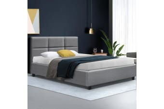 Artiss King Single Size Bed Frame Base Mattress Fabric Wooden Grey TINO