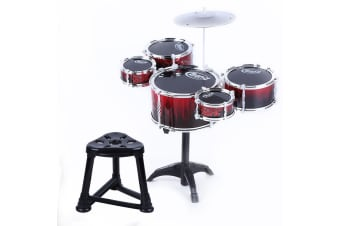 Kids Drum Kit Jazz Drum Instrument Coordination Trainer - Bright Red