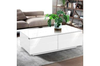 Artiss Modern Coffee Table 4 Storage Drawers High Gloss Wooden Furniture White