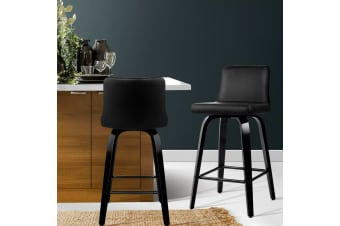 Artiss 2x Felipe Wooden Bar Stools Swivel Bar Stool Kitchen Chairs Black