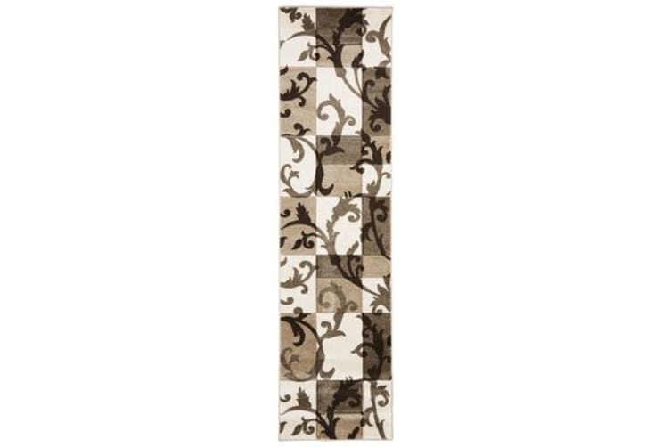 Squares and Vines Rug Beige Cream 400x80cm