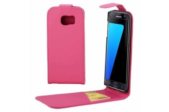 For Samsung Galaxy S7 EDGE Case Stylish Vertical Flip Protective Cover Magenta