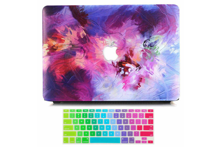 """Marble Frosted Matte Hard Case with Free Keyboard Cover for MacBook Pro 13"""" 2016-2018 A1708(no Touch Bar)-Colorful Paint 7"""