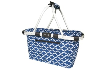 Sachi Carry Shopping Basket Picnic Camping Collapsible Tote Moroccan Navy