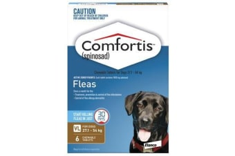 Comfortis for Dogs 27.1-54 kgs - 6 Chewables - Brown - Flea Control Tablets