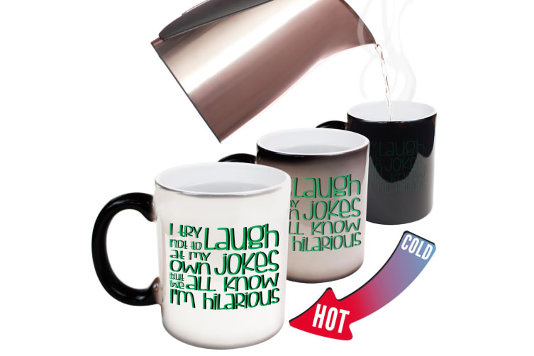 123T Funny Colour Changing Mugs - I Try Not To Laugh At Own Jokes