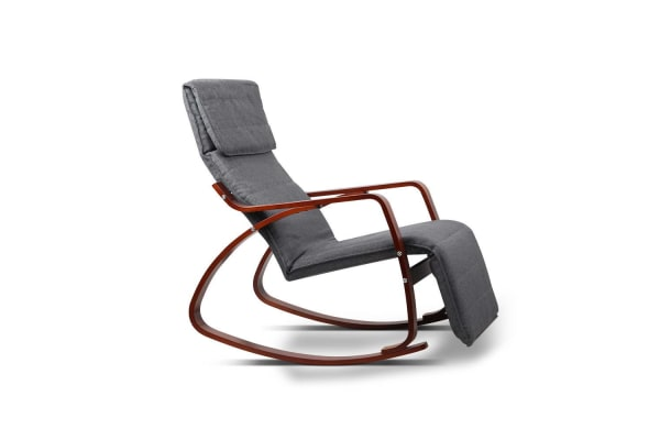 Birch Plywood Adjustable Rocking  Lounge Arm Chair with Fabric Cushion (Charcoal)