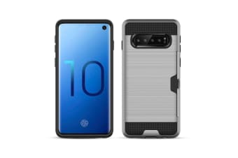 For Samsung Galaxy S10+ PLUS Case Silver Brushed Texture PC+TPU Armour Back Case