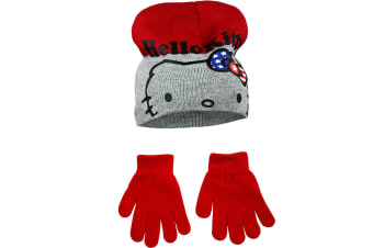Hello Kitty Childrens Girls Winter Hat And Gloves Set (Red/Grey)