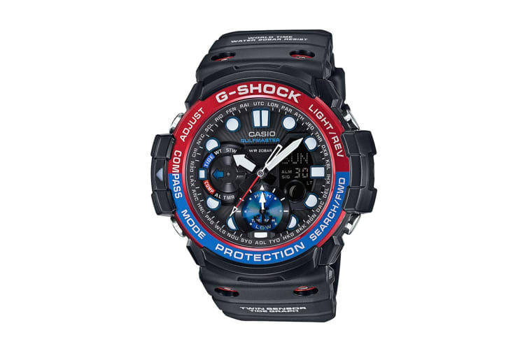 Casio G-Shock Analog Digital Watch Gulfmaster Series with Resin Band - Black/Red/Blue (GN1000-1A)
