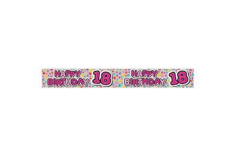 Expression Factory Childrens Girls Happy 18th Birthday Foil Banner (White/Pink)