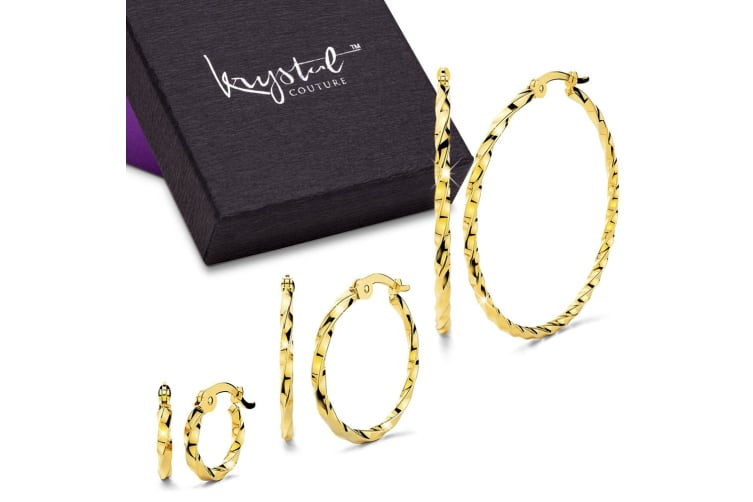 Boxed 3 Pairs Twisted Hoop Earrings Set Gold