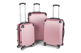 Milano Premium 3pc ABS Luggage Suitcase Luxury Hard Case Shockproof Travel Set - Rose Gold