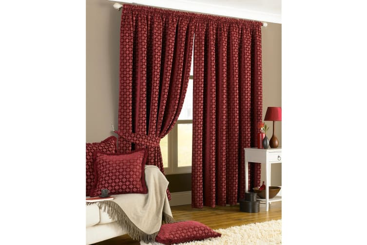 Riva Home Belmont Pencil Pleat Curtains (Claret) (90x90 (229x229cm))