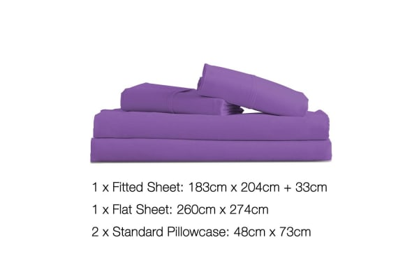 4 Piece Microfibre Sheet Set (King/(Purple)