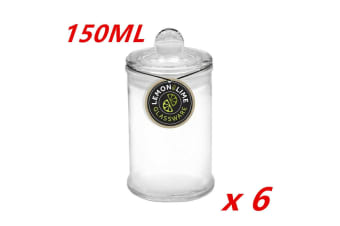 6 x 150ML Glass Apothecary Candy Jar with Lid Candy Candle Waxing Lolly Wedding