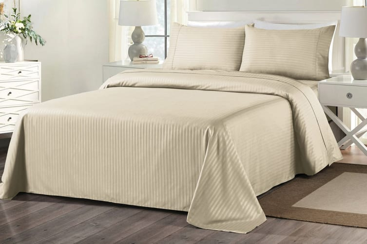 Royal Comfort 1000TC Blended Bamboo Bed Sheet Set with Stripes (Double, Sand)