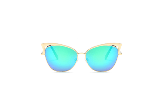 Trendy Fashion Cat Eye Mirrored Metal Frame Women Sunglasses