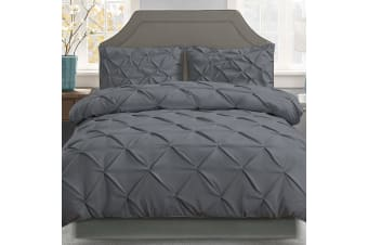 Giselle Quilt Cover Set Queen Bed Pinch Pleat Diamond Duvet Doona Charcoal