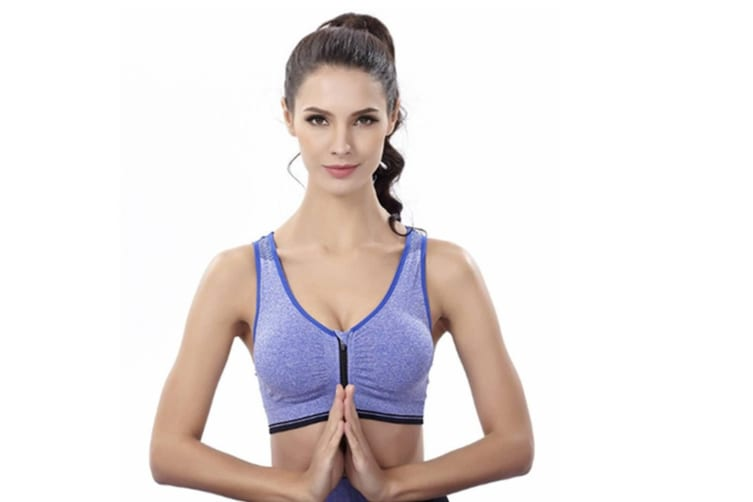 Trendy Zip Front Racerback Padded High Impact Active Bra Yoga Bra Blue L