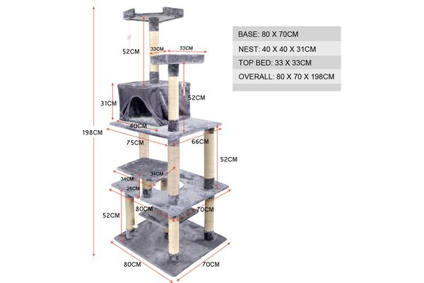 1.98M Cat Scratching Post Tree Gym House GREY