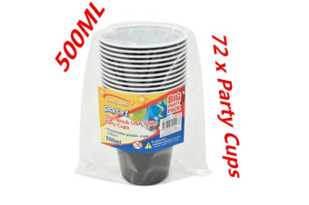 72PCS DISPOSABLE PARTY PLASTIC BLACK USA STYLE JUMBO CUPS ALL Occasions BEER