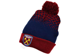 West Ham United FC Official Cuff Bobble Knitted Hat (Claret/Navy) (One Size)