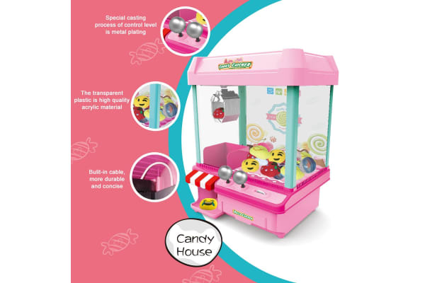 Arcade Claw Crane Machine Carnival Style Prize Game Candy Grabber Kids Toy w/Music - Pink