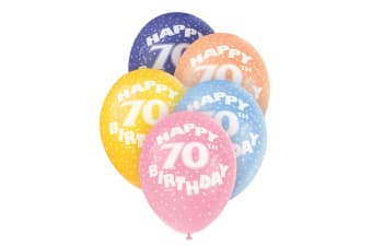 Unique Party 12 Inch 70th Assorted Latex Balloons (Pack Of 5) (Multicoloured)
