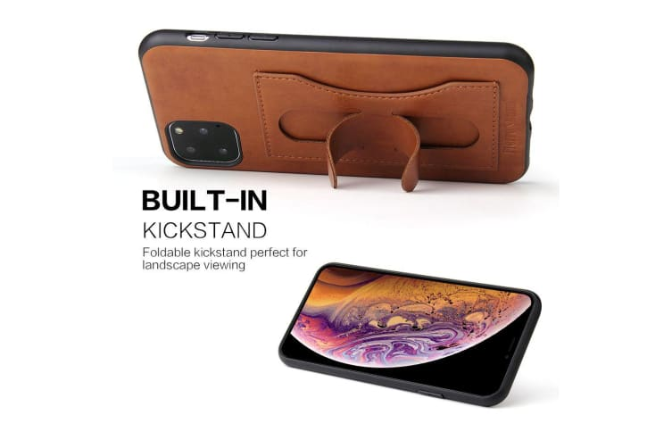 For iPhone 11 Pro Max Case Brown Luxury Leather Back Protective Cover  Kickstand