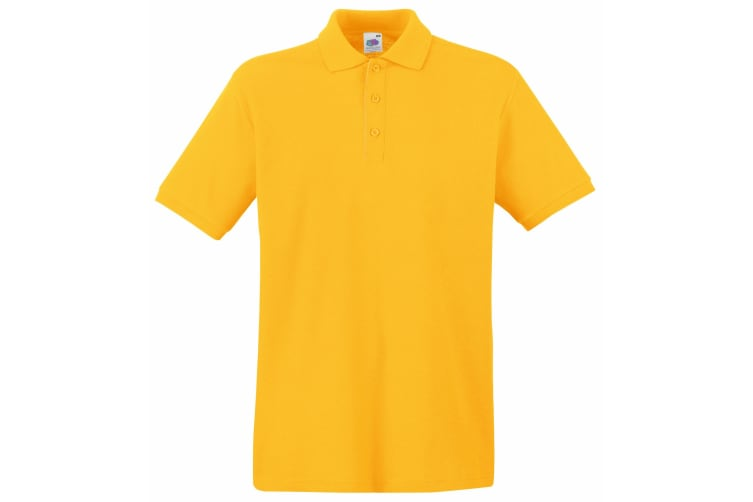 Fruit Of The Loom Premium Mens Short Sleeve Polo Shirt (Sunflower) (L)