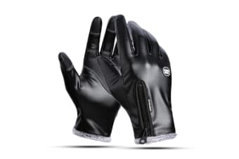 Men'S Outdoor Riding Warm Leather Gloves Antiski Touch Screen Skiing Gloves - Black Black L