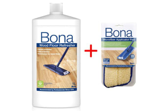 Bona Wood Floor Refresher for Wooden Floors w/ Microfibre Applicator Pad for Mop