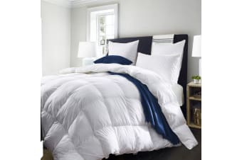 Royal Comfort 50% Goose Feather 50% Down 500GSM Quilt Duvet Deluxe Soft Touch - Double - White