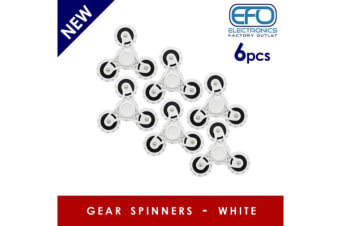 6Pc 6X 3D Hand Spinner Fidget Toy Gear Style Stress Reliever Fast Bearing Spin White