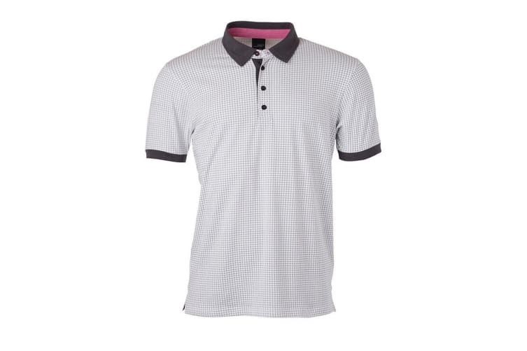 James and Nicholson Mens Printed Polo (White/Titan) (3XL)