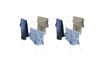 2x BoxSweden 87cm 12 Rail Foldable Wire Clothes/Laundry Airer Drying Hanger Rack