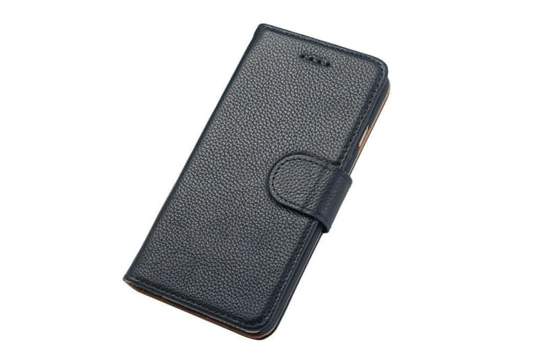 new product 9483a d8cc1 For iPhone 6S 6 Wallet Case Fashion Stylish Cowhide Genuine Leather Cover  Navy