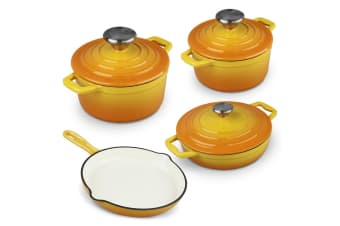 Xanten 7pc Cast Iron Cookware Set Frying Pan Frypan Skillet Casserole Stock Pot