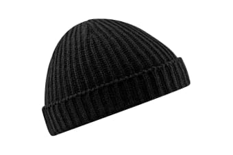 Beechfield Unisex Retro Trawler Winter Beanie Hat (Black) (One Size)