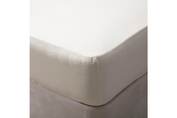 Belledorm Brushed Cotton Extra Deep Fitted Sheet (Cream) (Double)