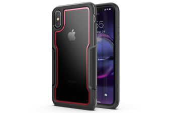 MAXSHIELD Slim Clear Heavy Duty ShockProof Case for iPhone XS MAX-Red