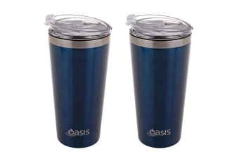 2PK Oasis 480ml Double Wall Insulated Stainless Steel Travel Cup Mug w  Lid Navy